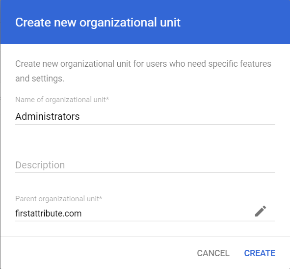 Create new organizational unit