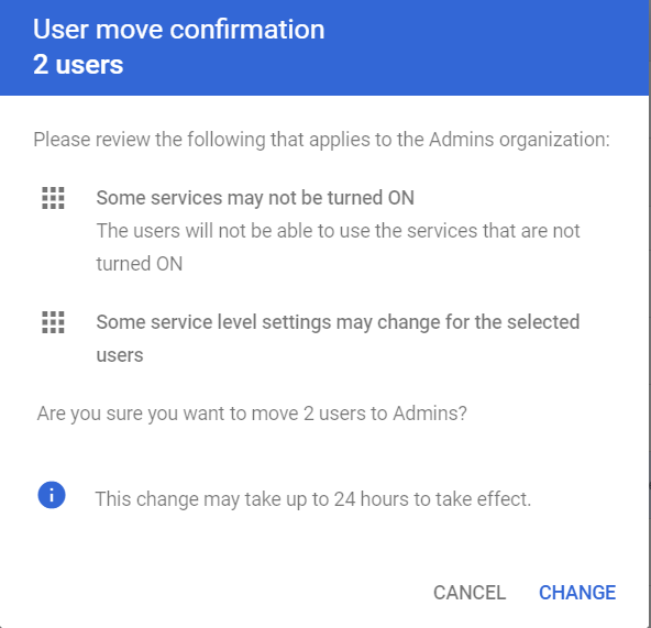 User move confirmation