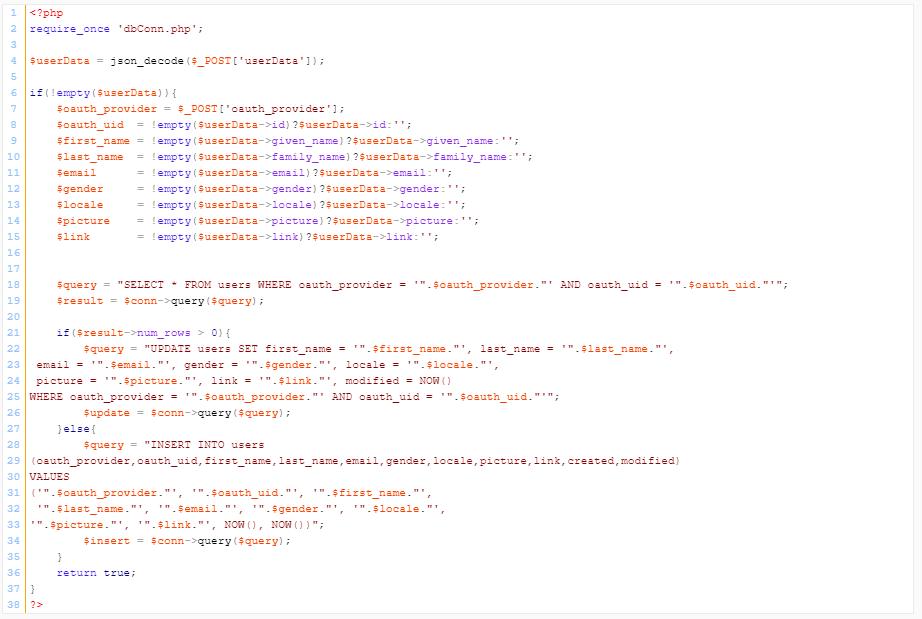 Speichern der Daten (userData.php) - SQL Datenbank