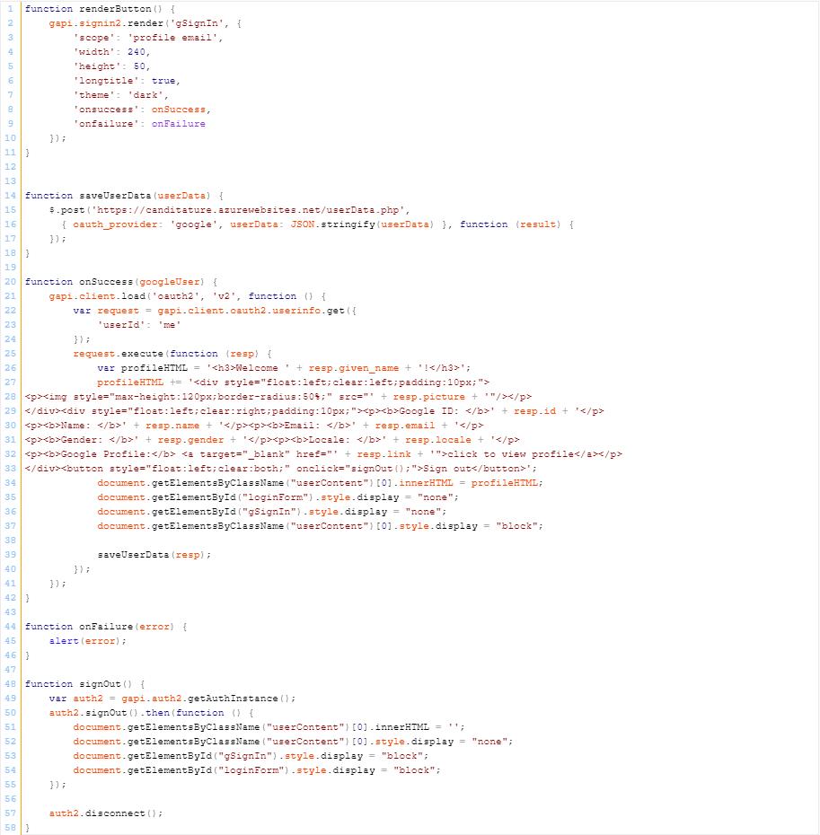 JavaScript Code - Anmeldung mit Google